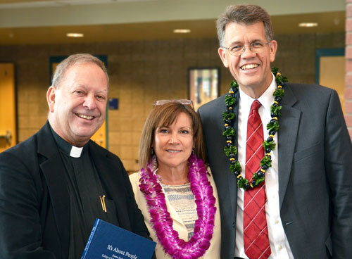 Dr. Karl White, Dr. Beth Foley, and Reverend