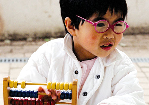 a student with an abacus